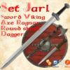 Set jarl - foam viking sword, ax, dagger, shield
