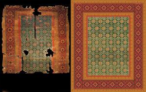 Replika historického středověkého koberce ze seljuckého období