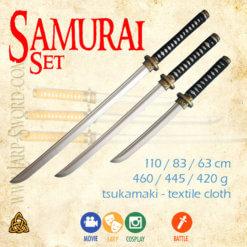 Samuraj sada tří zbraní samuraje -katana, wakizaši, tanto